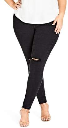 City Chic Ripped Knee Skinny Jeans