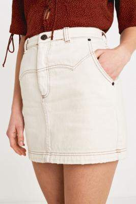 BDG Ecru Western Denim Mini Skirt
