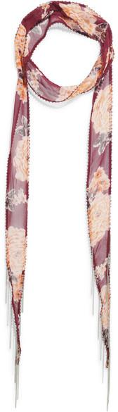 Chan LuuChan Luu - Embellished Floral-print Georgette Scarf - Burgundy