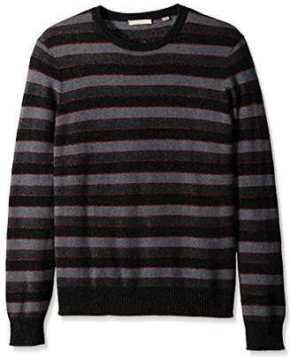 Cashmere Addiction Men's Stripe Crew Neck Sweater
