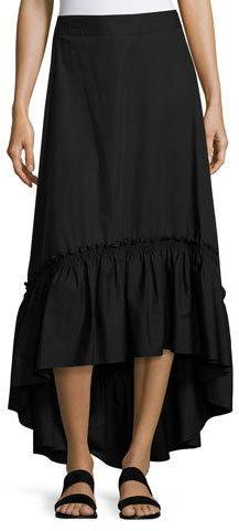 Trina Turk Rosamund Shirred High-Low Maxi Skirt, Black