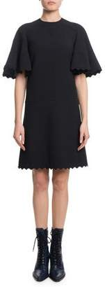 Chloé Short-Sleeve Scallop Detail A-Line Light-Cady Short Dress