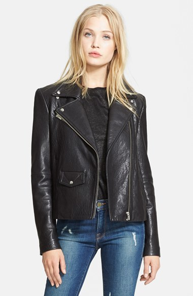 Veda 'Lazer Classic' Leather Moto Jacket