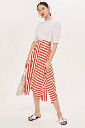 Topshop PETITE Striped Hanky Hem Skirt