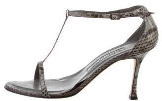 Manolo Blahnik Snakeskin Open-Toe Sandals