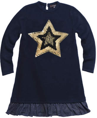 Imoga Fine Sweater Metallic-Hem Long-Sleeve Dress w/ Sequin Star Patch, Size 8-14