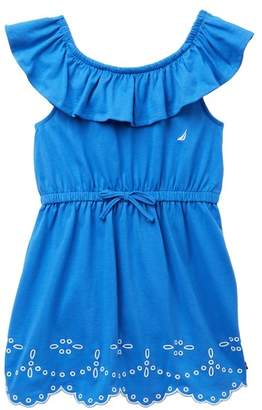 Nautica Ruffle Embroidered Scalloped Hem Dress (Little Girls)