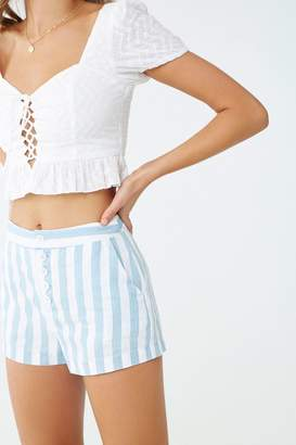 Forever 21 Cotton-Blend Striped Shorts