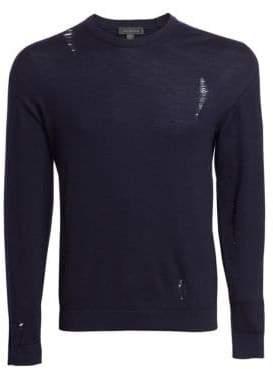 Saks Fifth Avenue MODERN Ripped Crewneck Sweater