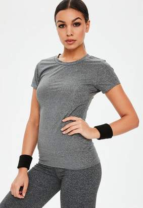Missguided Active Gray Short Sleeve Sports Tee