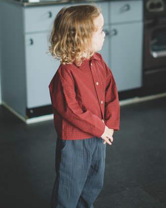 Pairmanon(ペアマノン) REDCHECK チェック柄 ストライプ柄 ショート丈 長袖 ワイドシャツ