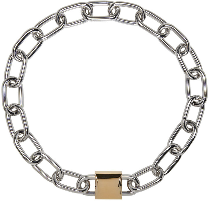 Alexander WangAlexander Wang Silver & Gold Double Lock Necklace