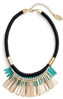 Adia Kibur Spike Stone Statement Bib Necklace