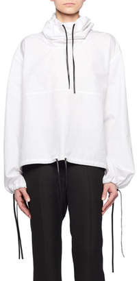 Victoria Beckham Hooded Drawstring Cotton Pullover w/ Leather Trim