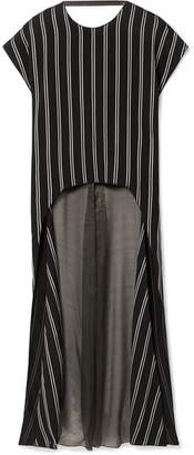 Esteban Cortazar Striped Satin-twill And Silk-blend Chiffon Blouse