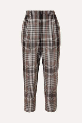 Brunello Cucinelli Cropped Plaid Wool Tapered Pants - Brown
