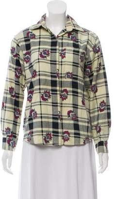 Diane von Furstenberg Printed Flannel Button-Up