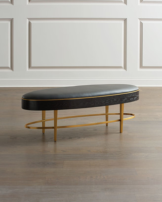 Global Views Ellipse Leather Oval Bench