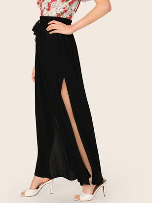 Shein Drawstring Waist Split Thigh Wide Leg Pants