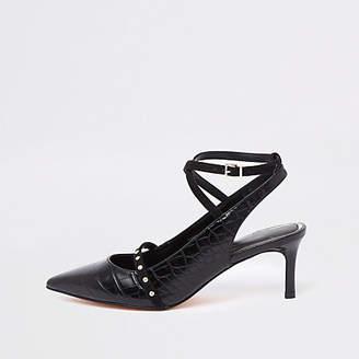 River Island Black croc mid heel ankle strap court shoes