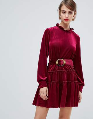 Vero Moda Cord High Neck Dress With Tortoise Belt