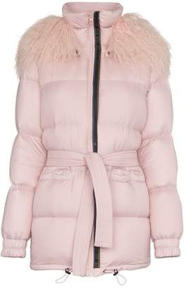 Mr & Mrs Italy Mongolian fur collar feather down puffer coat