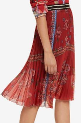 Desigual Red Pleated Skirt