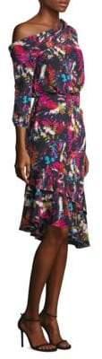 Saloni Lexie Silk Off-Shoulder Dress