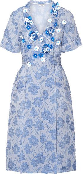 Miu MiuMiu Miu - Floral-appliquéd Silk-blend Cloqué Wrap Dress - Light blue