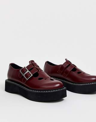 Asos Design DESIGN Mass chunky mary jane flat shoes in burgundy