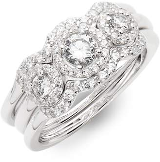 Lafonn Three Stone Halo Engagement Ring & Wedding Band Set
