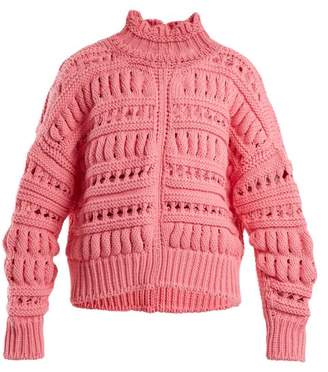 Isabel Marant Zoe Chunky Knit Cotton Blend Sweater - Womens - Pink