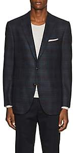 Pal Zileri MEN'S CHECKED WOOL TWO-BUTTON SPORTCOAT-BLUE SIZE 42 R