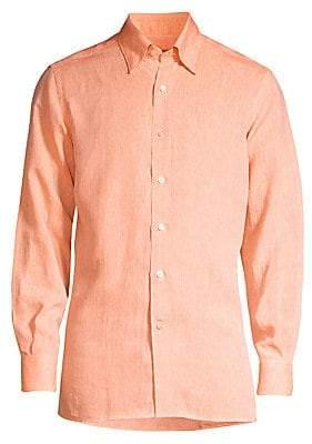 Canali Men's Solid Linen Shirt