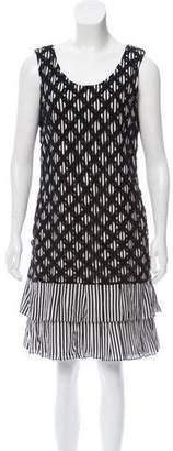 Black Fleece Crochet Lace-Accented Stripe Dress