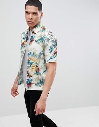Diesel S-LINA Floral Zip Front Short Sleeve Shirt