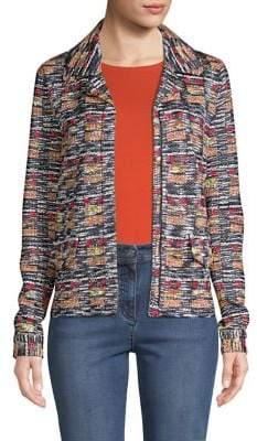 St. John Women's Tweed Zip-Front Jacket - Caviar Multi - Size 12