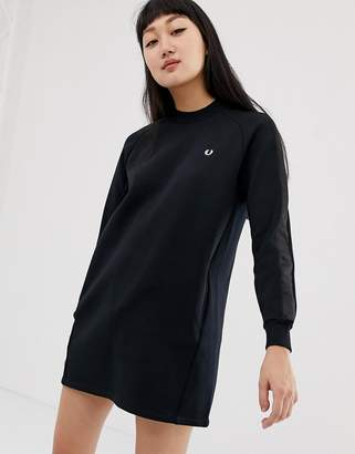 Fred Perry high neck sweatshirt dress with satin tape sleeve