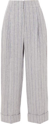 Brunello Cucinelli Pinstriped Linen Pants - Gray