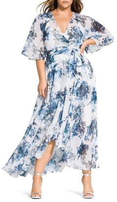 City Chic Kenji Floral Wrap Maxi Dress