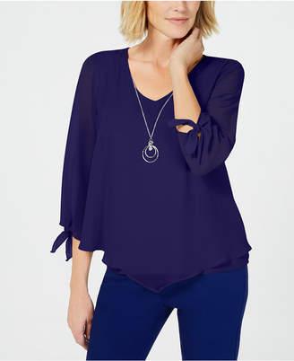 JM Collection Asymmetrical Necklace Blouse