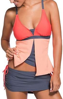 Ladyjiaoswimdress Women Tankini Sets Two Piece V Neck Swimwear Tummy Control Swimsuit