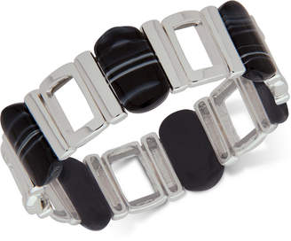Nine West Silver-Tone Black Stone Stretch Bracelet