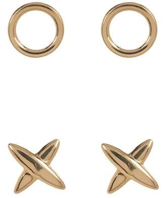 "Candela 14K Yellow Gold ""XO\"" Mismatched Stud Earrings - Set of 2"