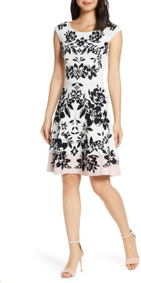 28b5ab049ed Eliza J Jacquard Fit   Flare Sweater Dress