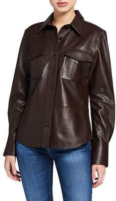 Equipment Garcella Button-Front Leather Blouse