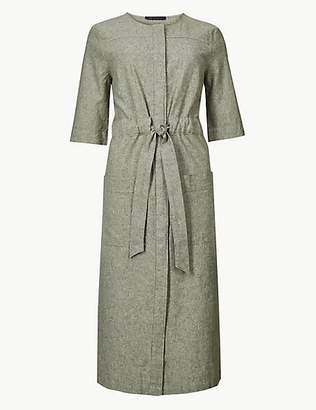 M&S Collection Textured Short Sleeve Shift Midi Dress