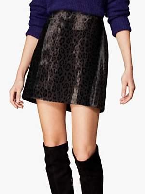 Karen Millen Textured Mini Skirt, Leopard Print