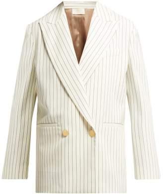 Sara Battaglia Double Breasted Pinstripe Wool Blazer - Womens - Cream Stripe