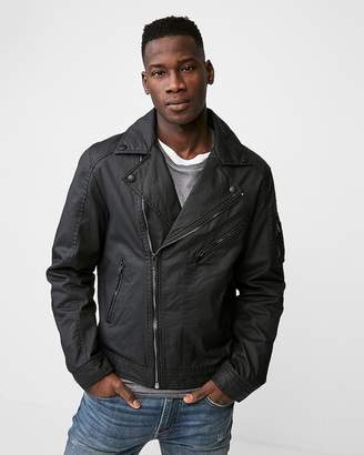 Express Waxy Cotton Water-Resistant Moto Jacket